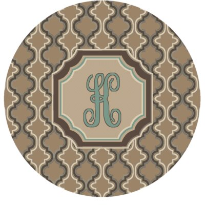 Lanikai Monogrammed Turquoise/Brown Area Rug Letter: K