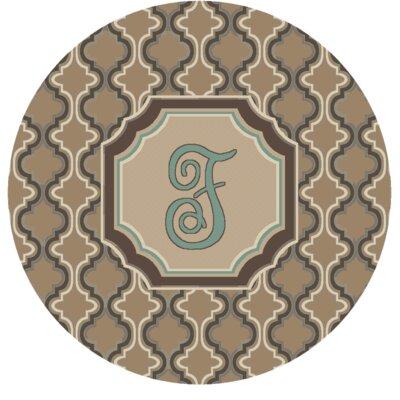 Lanikai Monogrammed Turquoise/Brown Area Rug Letter: O