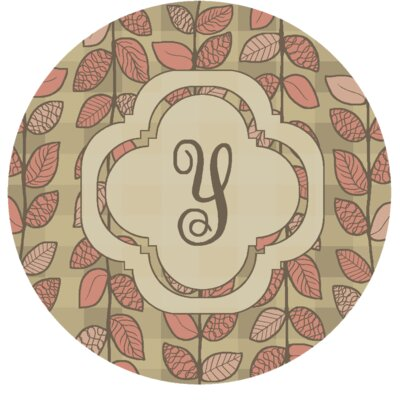 Happel Delicate Foliage Monogrammed Pink Area Rug Letter: Y