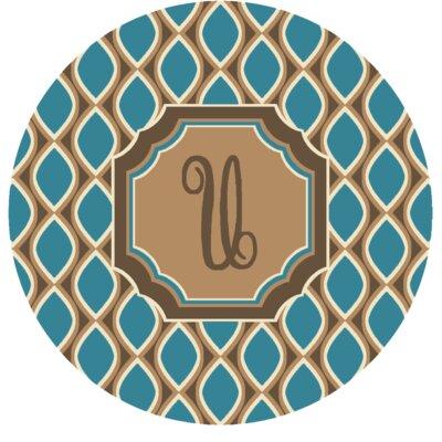 Hansley Monogrammed Blue Area Rug Letter: U