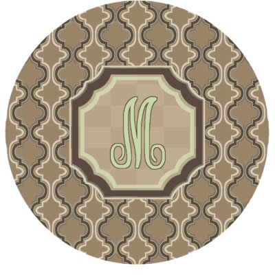 Lanikai Monogrammed Green/Brown Area Rug Letter: M