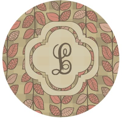 Happel Delicate Foliage Monogrammed Pink Area Rug Letter: L