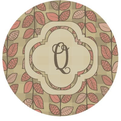Happel Delicate Foliage Monogrammed Pink Area Rug Letter: Q