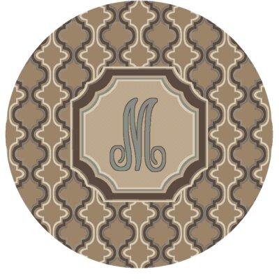 Lanikai Monogrammed Blue/Brown Area Rug Letter: M