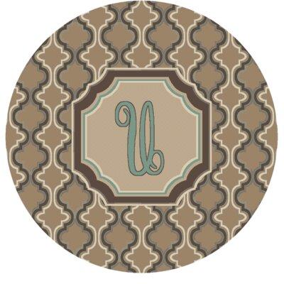 Lanikai Monogrammed Turquoise/Brown Area Rug Letter: U
