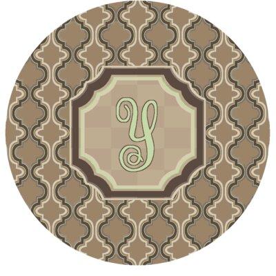 Lanikai Monogrammed Green/Brown Area Rug Letter: Y