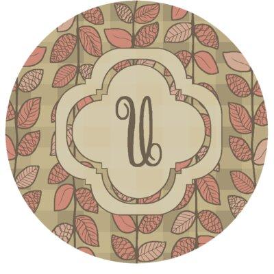 Happel Delicate Foliage Monogrammed Pink Area Rug Letter: U