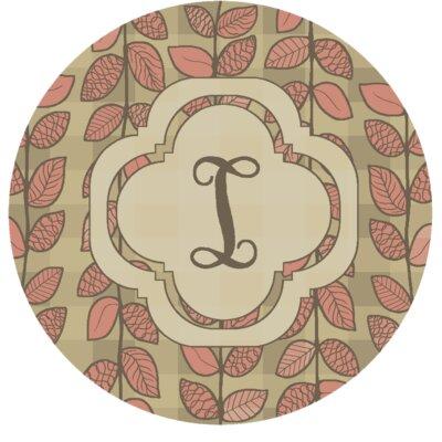 Happel Delicate Foliage Monogrammed Pink Area Rug Letter: I