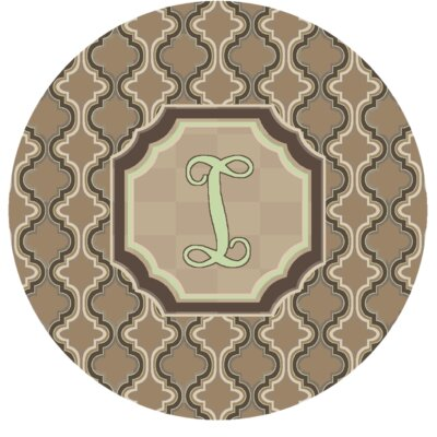 Lanikai Monogrammed Green/Brown Area Rug Letter: I