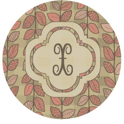 Happel Delicate Foliage Monogrammed Pink Area Rug Letter: X