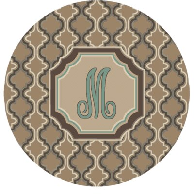 Lanikai Monogrammed Turquoise/Brown Area Rug Letter: M