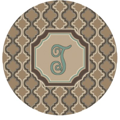Lanikai Monogrammed Turquoise/Brown Area Rug Letter: T