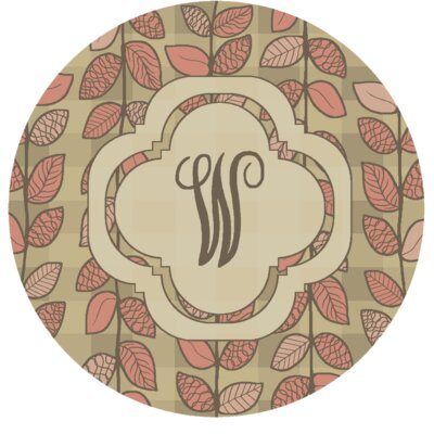 Happel Delicate Foliage Monogrammed Pink Area Rug Letter: W