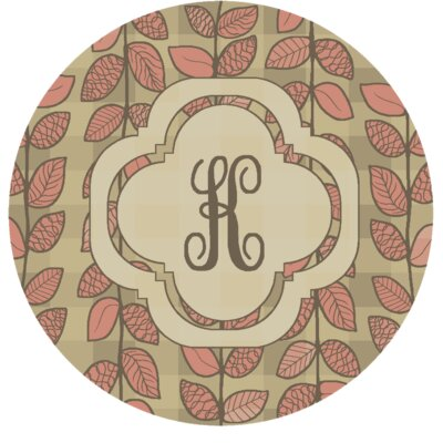 Happel Delicate Foliage Monogrammed Pink Area Rug Letter: K