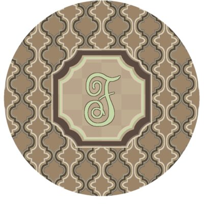 Lanikai Monogrammed Green/Brown Area Rug Letter: F