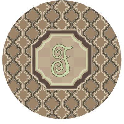 Lanikai Monogrammed Green/Brown Area Rug Letter: F