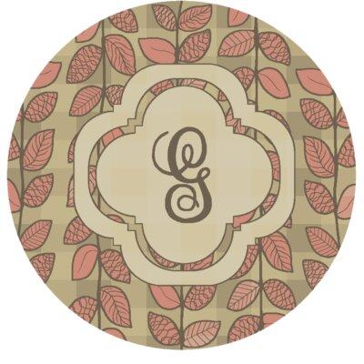 Happel Delicate Foliage Monogrammed Pink Area Rug Letter: G