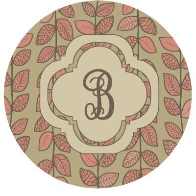 Happel Delicate Foliage Monogrammed Pink Area Rug Letter: B