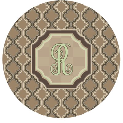Lanikai Monogrammed Green/Brown Area Rug Letter: R