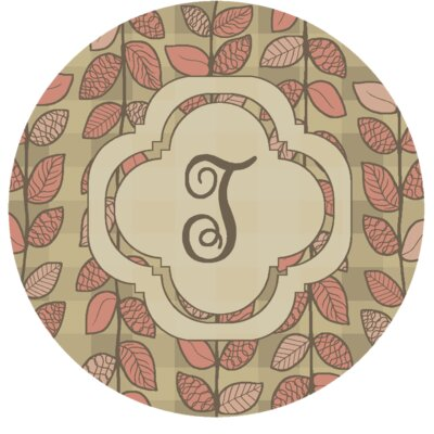 Happel Delicate Foliage Monogrammed Pink Area Rug Letter: T