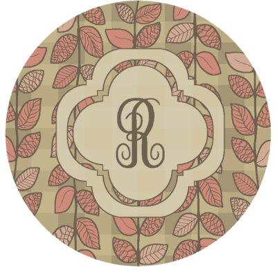 Happel Delicate Foliage Monogrammed Pink Area Rug Letter: R