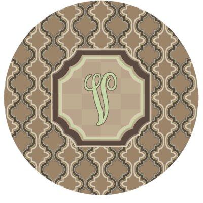 Lanikai Monogrammed Green/Brown Area Rug Letter: V