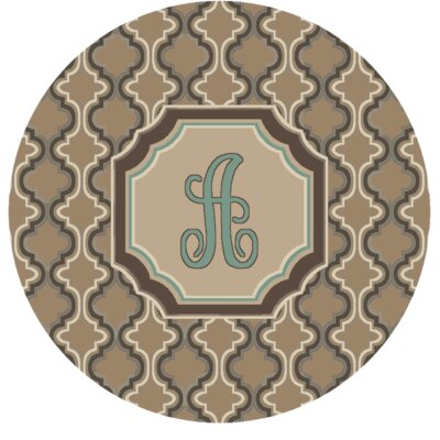 Lanikai Monogrammed Turquoise/Brown Area Rug Letter: A