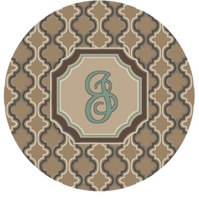 Lanikai Monogrammed Turquoise/Brown Area Rug Letter: J