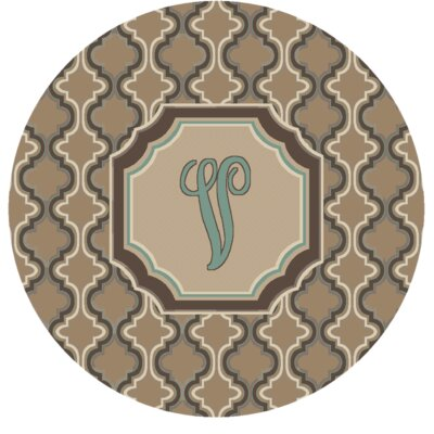 Lanikai Monogrammed Turquoise/Brown Area Rug Letter: V