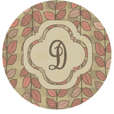 Happel Delicate Foliage Monogrammed Pink Area Rug Letter: D