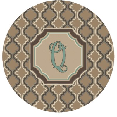 Lanikai Monogrammed Turquoise/Brown Area Rug Letter: Q