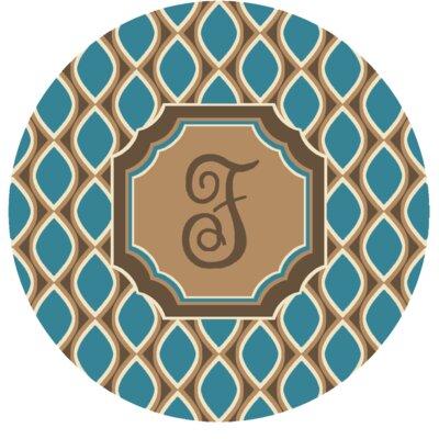 Hansley Monogrammed Blue Area Rug Letter: F