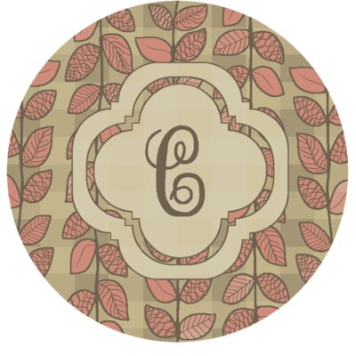 Happel Delicate Foliage Monogrammed Pink Area Rug Letter: C