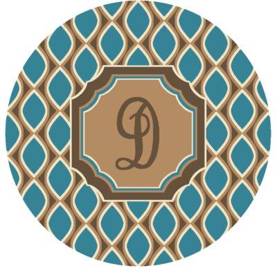Hansley Monogrammed Blue Area Rug Letter: D