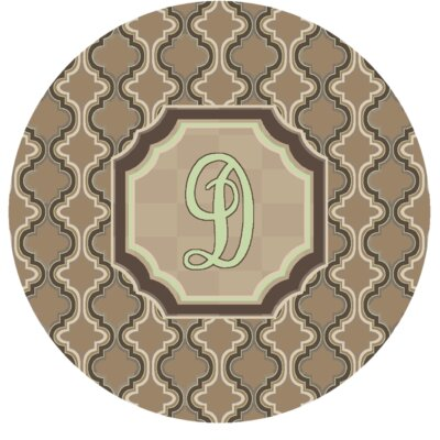 Lanikai Monogrammed Green/Brown Area Rug Letter: D