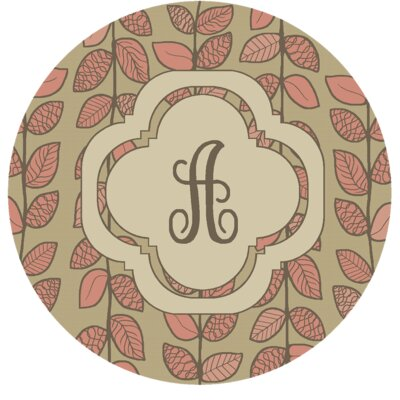Happel Delicate Foliage Monogrammed Pink Area Rug Letter: A