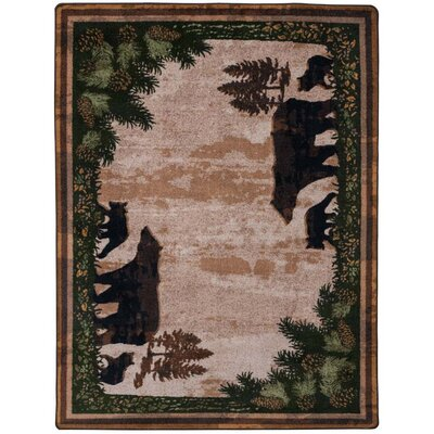 Loyalton Timber Bears Brown Area Rug Rug Size: Rectangle 5 x 8