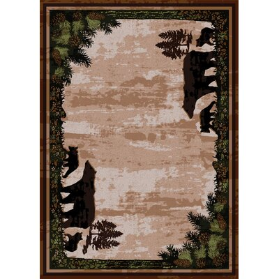 Loyalton Timber Bears Brown Area Rug Rug Size: 8 x 11