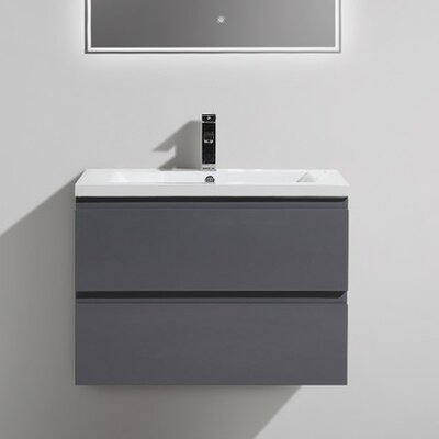 MOB 29 Single Bathroom Vanity Set Base Finish: High Gloss Gray
