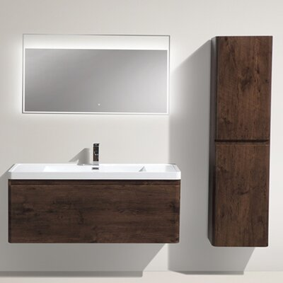 Happy 47 Single Bathroom Vanity Set Base Finish: Rosewood