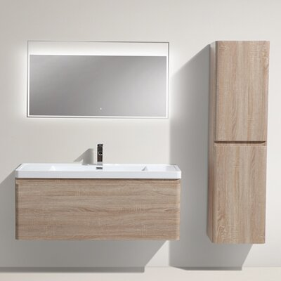 Happy 47 Single Bathroom Vanity Set Base Finish: White Oak