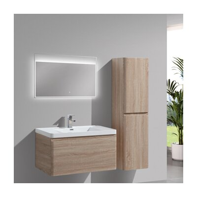 Happy 35 Single Bathroom Vanity Set Base Finish: White Oak