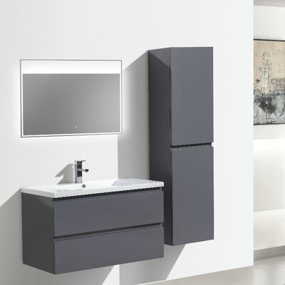 MOB 36 Single Bathroom Vanity Set Base Finish: High Gloss Gray