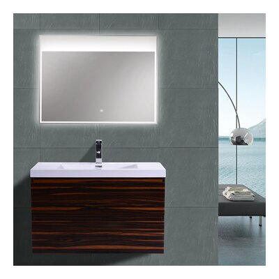 MOB 36 Single Bathroom Vanity Set Base Finish: High Gloss Rose Walnut