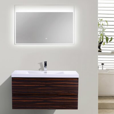 Mob 42 Single Bathroom Vanity Set Base Finish: High Gloss Rose Walnut