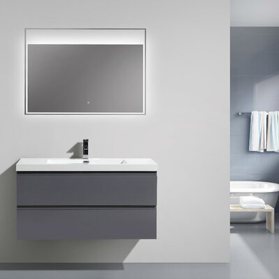 Mob 42 Single Bathroom Vanity Set Base Finish: High Gloss Gray