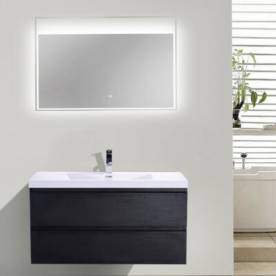 MOB 42 Single Bathroom Vanity Set Base Finish: Black