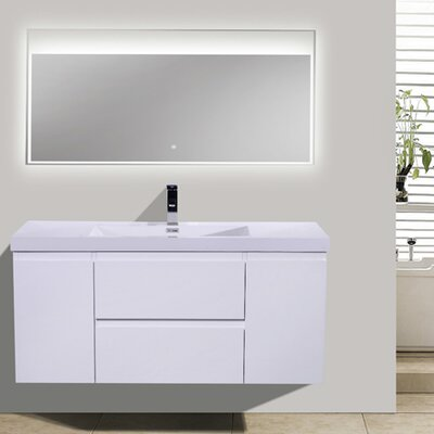 MOB 47 Single Bathroom Vanity Set Base Finish: High Gloss White