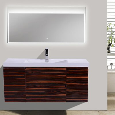 MOB 47 Single Bathroom Vanity Set Base Finish: High Gloss Rose Walnut