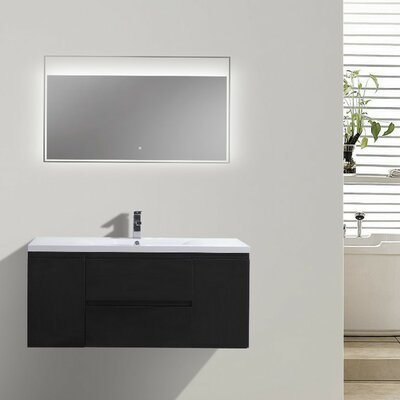 MOB 47 Single Bathroom Vanity Set Base Finish: Black